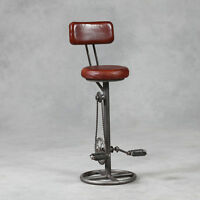 Industrial Vintage Brown Stool Leather & Iron Back Rest Pedal Retro