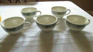 Set-of-5-Vintage-SCIO-Currier-amp-Ives-Old-Mill-Green-Flat-Cups-Plow-amp-Harness