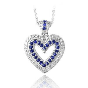 Silver-Tone-Created-Sapphire-amp-Diamond-Accent-Open-Heart-Necklace-18-034