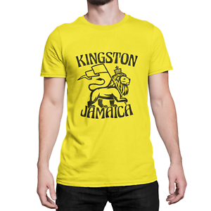 KINGSTON Jamaica Mens ORGANIC T-Shirt Retro Rastafarian Reggae Rasta Judah Lion