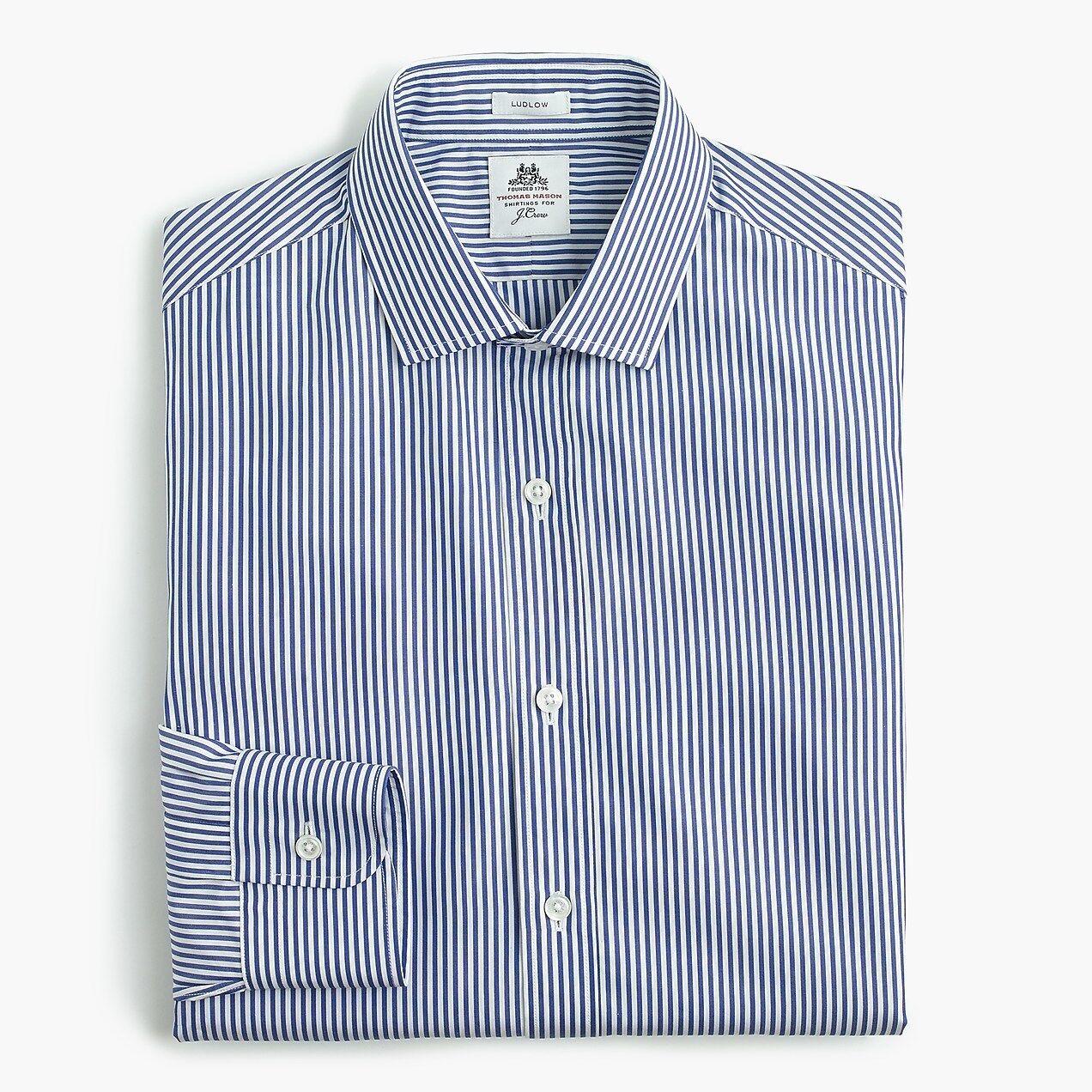 Thomas Mason for J.Crew Ludlow Men's Slim-fit Shirt in Blau Stripe 168 NEW XL