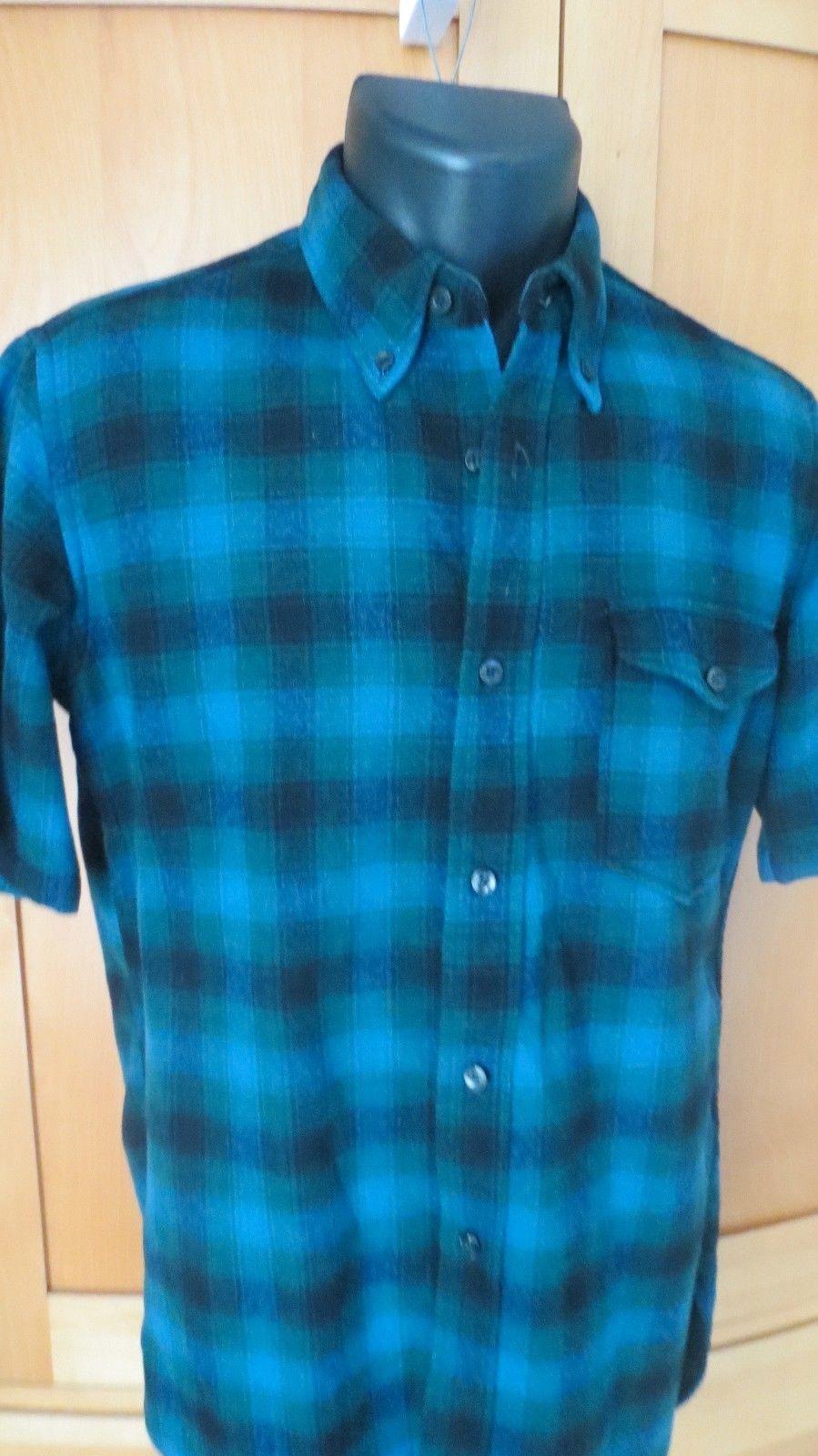 Vtg Men's Pendleton Wool Board Shirt Shadow PLaid Aqua bluee s s  Med eeuc