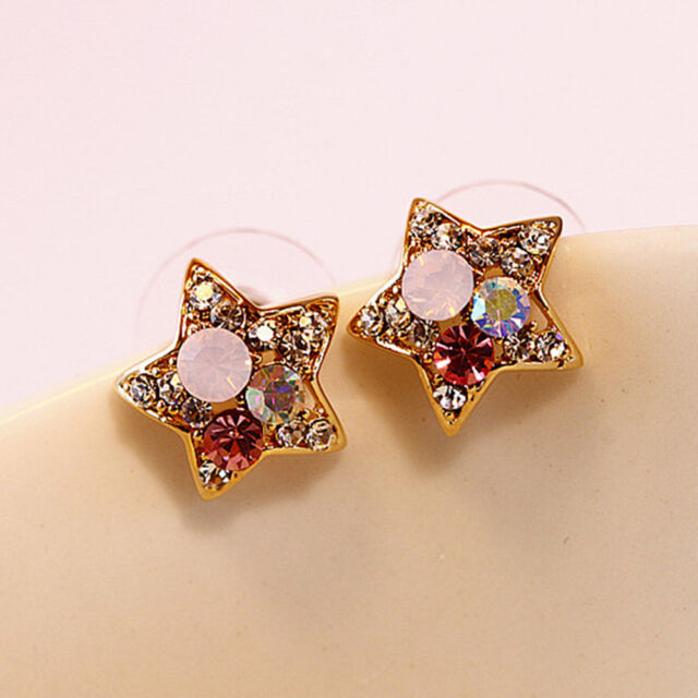 1 Pair Cute Vintage Colorful Rhinestone Crystal Pentagram Stud Earring