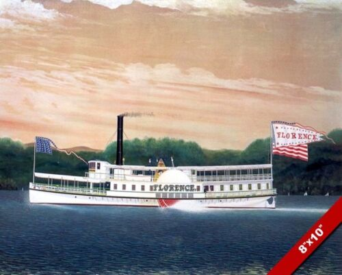FLORENCE STEAM BOAT MISSISSIPPI RIVER OIL PAINTING ART REAL CANVAS GICLEE PRINT