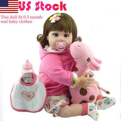 "22/"" Vinyl Reborn Baby Dolls Lifelike Newborn Silicone Girl Doll Toy Xmas Gift"