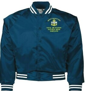 NAVAL AIR STATION PATUXENT RIVER MARYLAND NAVY EMBROIDERED 2-SIDED SATIN JACKET