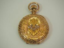 1888 HAMPDEN 14K GOLD LADIES POCKET WATCH IN BEAUTIFUL CASE w/ 7 DIAMONDS 15J 6S
