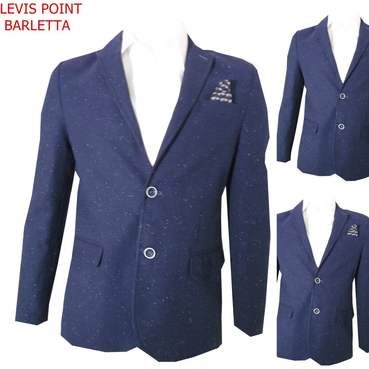 Giacca Slim men lana invernale fantasia twill blue Tagli 46 48 50 52 54 56 58