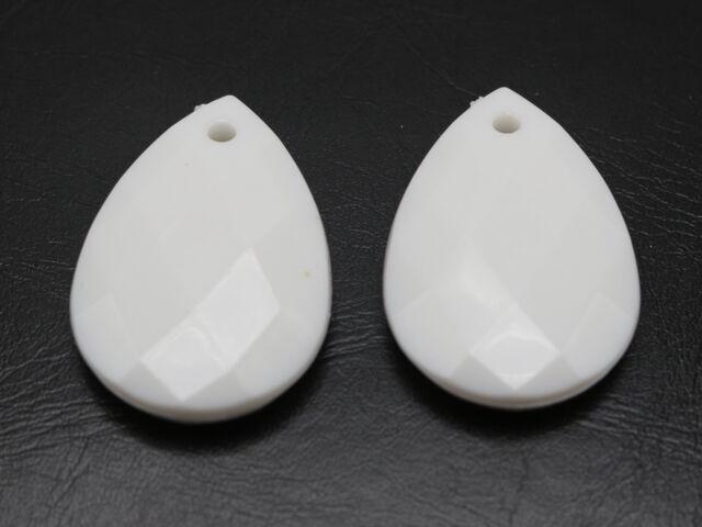 30 White Color Acrylic Teardrop Charm Pendants 25X18mm