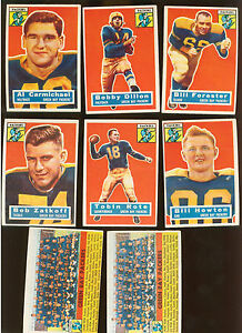 1956-Topps-Team-lot-of-8-Green-Bay-PACKERS-Excellent-Rote-2-Team-Cards
