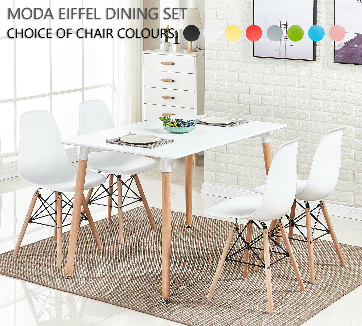 New 120*80cm 4//6 Seater Solid Wooden White Rectangular Dining Table Eiffel Style