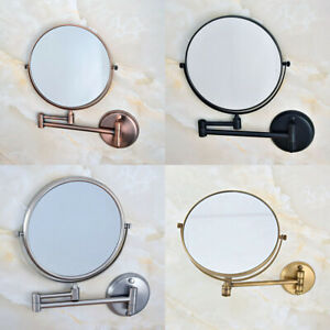 Wall-Mount-Brass-Bathroom-Shaving-Beauty-Makeup-Magnify-Mirror-Dual-Side-yba631