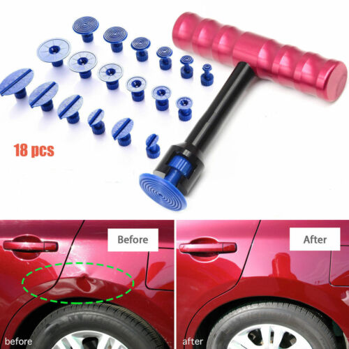Car Body Dent Lifter Puller Paintless Dent Repair Hail Removal Set Tool 18 Tabs