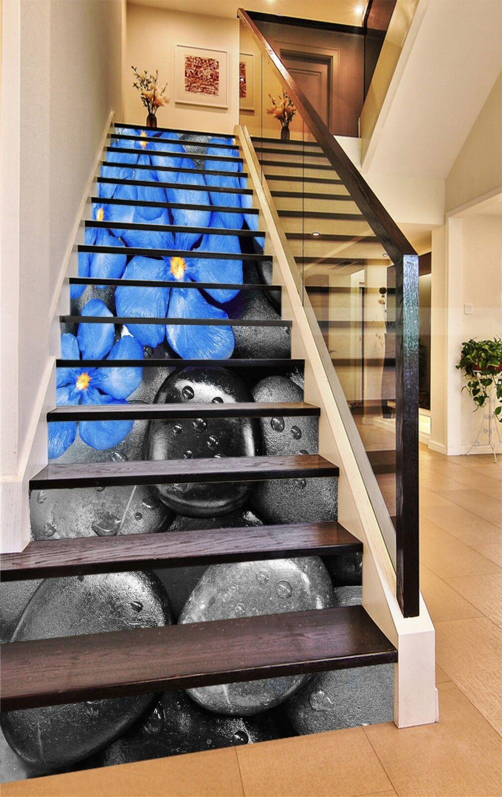 3D Fleur de Pierre 7 contremarches Décoration Photo Murale Autocollant Vinyle Papier Peint UK