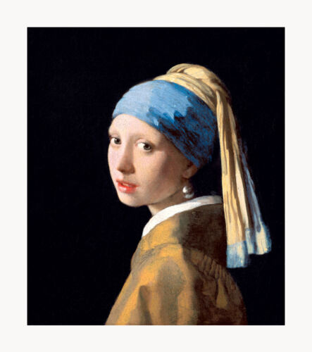 "Johannes Vermeer Girl with a Pearl Earring Framed Canvas Print 24/""x27/"" V06-03"