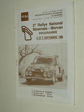 Programme Course Auto 2ème Rallye Nivernais 1986 RENAULT 5 Turbo catalogue R5