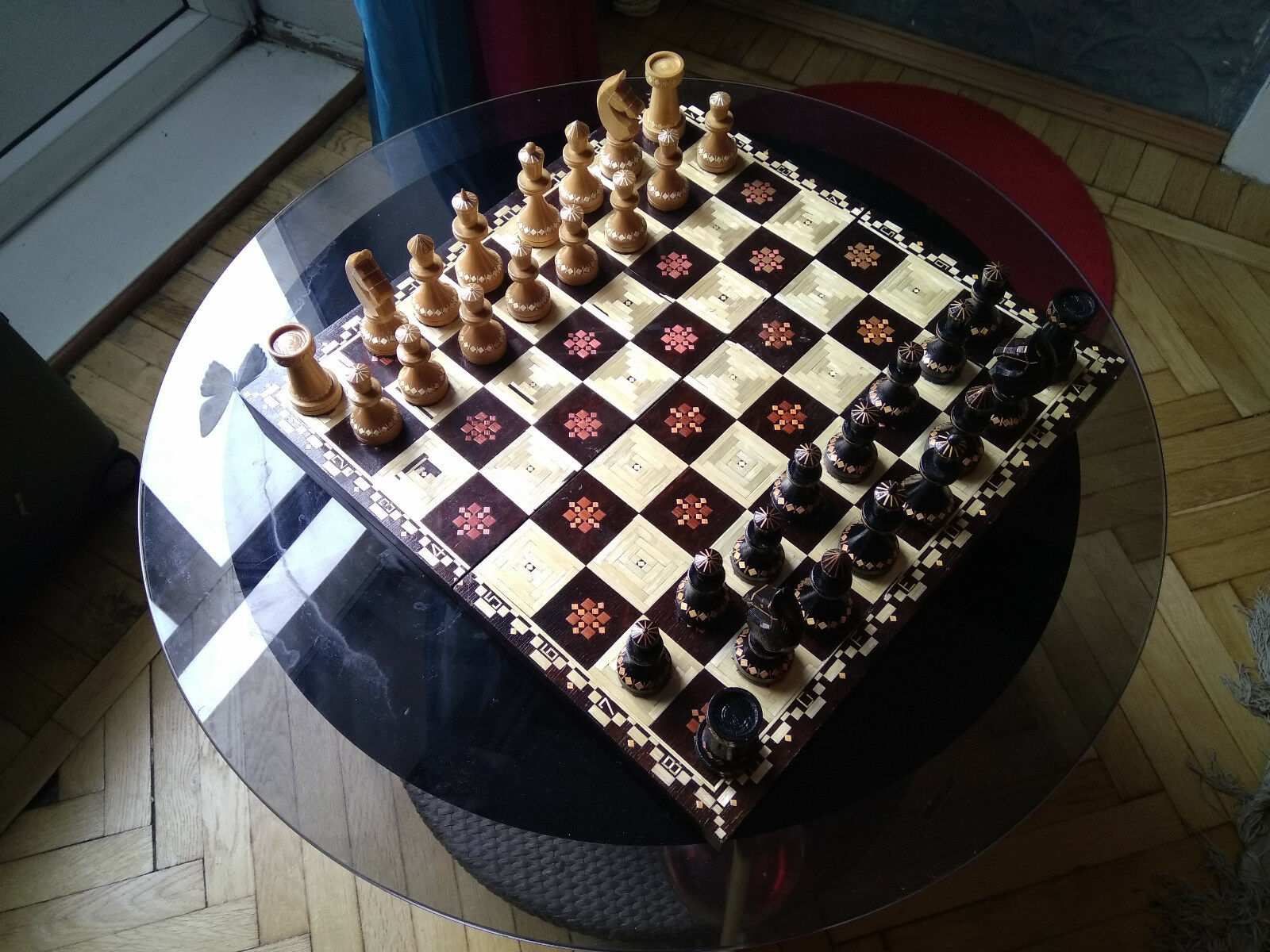 Vintage Rare Unique Natural Wood Crafted Chess Set Belarus Complete