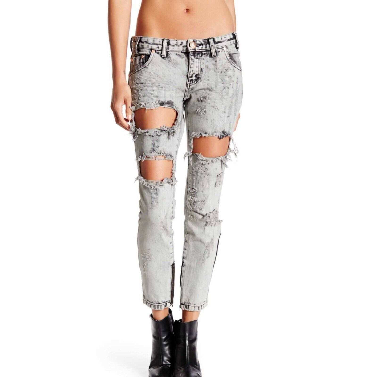 One Teaspoon Harley Freebirds Skinny Jeans Size 30 New Woman Acid Wash Retro