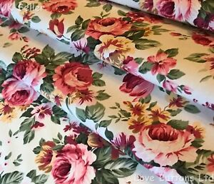 Rose-amp-Hubble-100-cotton-chintzy-pink-roses-on-ivory-fabric-half-full-mtrs-amp-FQ