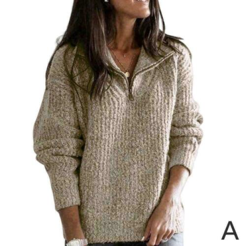 1 Women Solide Sweater Strick Langarm Kragen Top Pullover Z8K8 Lose Zipp A4Z2