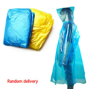 10Pcs-Disposable-Adult-Emergency-Waterproof-Rain-Coat-Poncho-Hiking-Camping-Hood