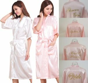 6ef9753e85 Image is loading Long-Satin-Personalized-Wedding-Robe-Bridesmaid-Bride -Mother-