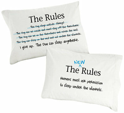 """Pillowcases """"Dog Rules """" Super Soft Pillowcases for Dog Lovers"""