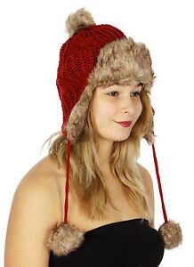 4ddd158ee76 Stylish Cable Knit Faux Fur Trapper Hat Women s Fall Winter Rust