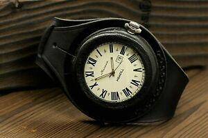 VTG Molnija Motocross Pocket Watch + WWI Style New Leather WRISTBAND WWII