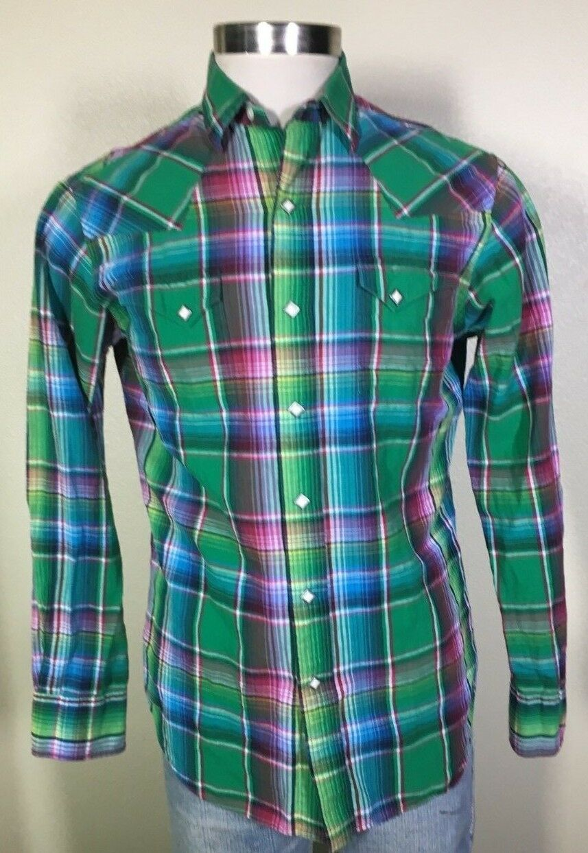 ac7018af82f by Ralph Lauren Western Pearl Snap Green Plaid Shirt Men's Medium ...
