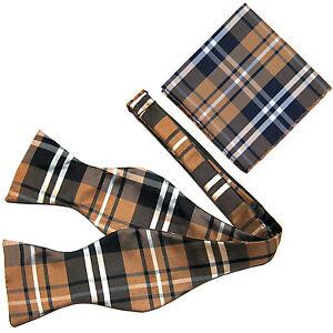 New Pre Tied Bow Tie Brown Tan Green Brown Hankie Handkerchief Plaid Checkers