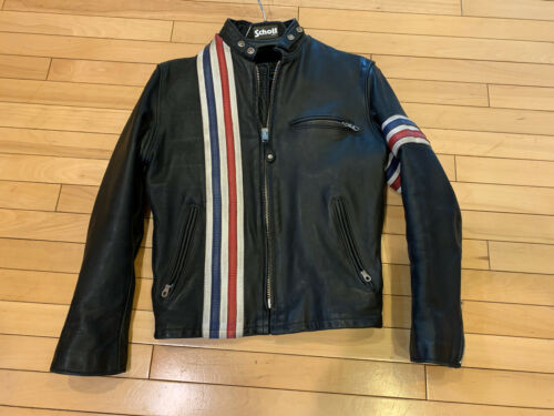 Schott 671 Easy Rider Striped Leather Motorcycle J