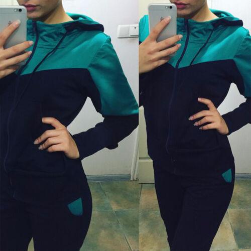 Women 2PC Tracksuit Hooded Sweatshirt Pant Zip Jacket Set Jogger Sport Sweatsuit