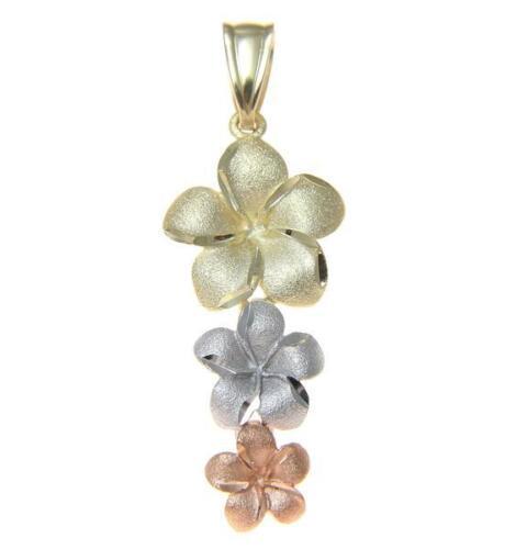 14K Solide Tricolor Gold Hawaiian 3 Plumeria Flower Dangle Pendentif