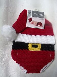 9b718b5a14b NWT NEWBORN CROCHET SANTA 2 PC SET DIAPER COVER   HAT PHOTO PROP SZ ...