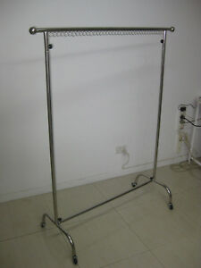 DISPLAYED DOMESTIC TO LIGHT WEIGHT INDUSTRIAL CLOTHING RACK.