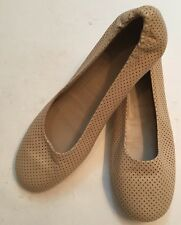 Sz 37 Jil Sander Italy Cream Light Beige Perforated Leather Ballet Flats EUC