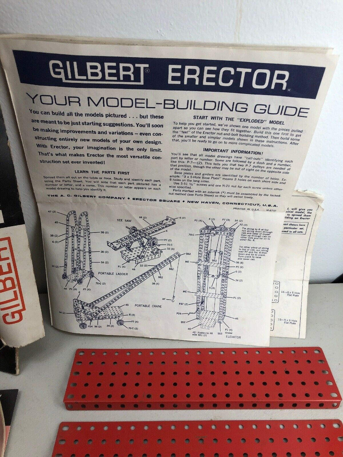 Gilbert Erector Set 3 w  Box & Instruction Book Book Book Vintage Free Shipping a7e2c8