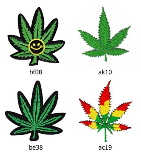 Set #042 Cannabis Blatt Hanf Reggae Aufnäher Bügelbild Applikation Pflanze Bio
