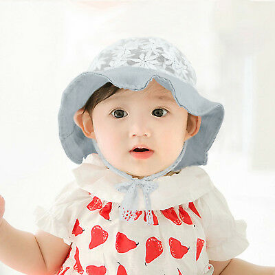 HB Toddler Baby Girl Summer Wide Brim Sun Protection Beach Cotton Hat Cap Effic