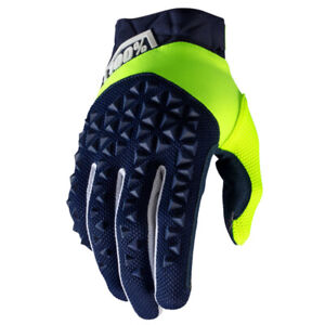 2020 100/% AIRMATIC MOTOCROSS MX MTB BIKE GLOVES NAVY BLUE FLUO YELLOW