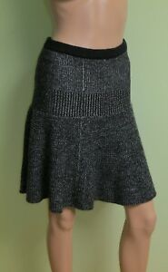 Cynthia-Rowley-Black-White-Comb-Fit-Flare-Knit-Wool-Work-Mini-Skirt-Size-M