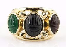 Egyptian Scarab Beetle Onyx, Jade, Opal Gemstone 3 Stone Ring 14k Solid Gold