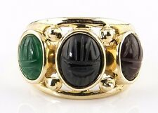 Egyptian Scarab Beetle Onyx, Jade, Opal Gemstone 3 Stone Ring 14k Solid Gold