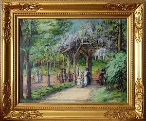 20th Century Oil Painting Central Park with Kids Playing Harriette Bowdoin 1906
