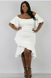 Details about Plus Size Peplum High Low Dress White XL, 2XL