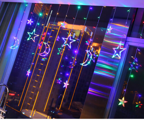LED Moon Star String Fairy Curtain Lights Sequential Twinkle Flash UK Plug 3.5M
