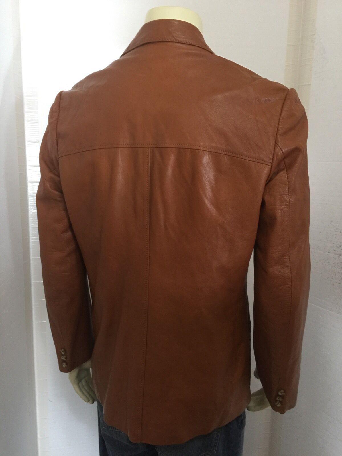 Vintage 1970's Mens Brown Hipster Soft Leather Bl… - image 4