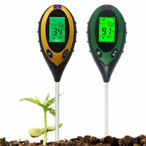 Soil Ph Meter Tester 4 In 1  Multifunction Digital Moisture Thermometer Monitor