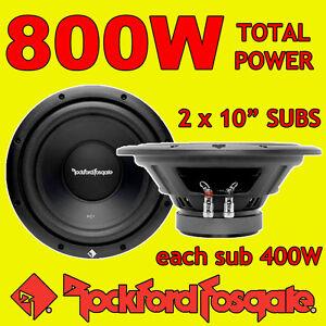Rockford-Fosgate-10-Pulgadas-10-Pulgadas-400w-cada-auto-AUDIO-bajo-Sub-Subwoofer-4-ohmios-X-2